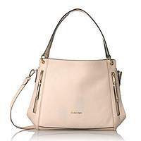 Calvin Klein Melanie Pebble Leather Slouchy Zip Face Hobo, Sand, One Size