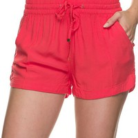 Casual Elastic Drawstring Linen Shorts with Cuffed Hem and Pockets Detail