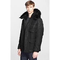 Men's Moncler 'Gamunont' Mixed Media Down Jacket with Genuine Coyote and Shearling Tri