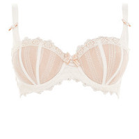 Curvy Kate White and Gold Entice Bow Balconette Bra