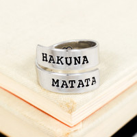 Hakuna Matata Ring - Heart - Adjustable Aluminum Wrap Ring B