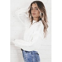 SAGE THE LABEL  White Cable Fringe Sweater