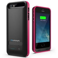 iPhone 5 Battery Case , Maxboost Atomic S iPhone Charger For Apple iPhone 5 / iPhone 5 [APPLE MFI Certified] Protective 2400mAh Battery Pack Juice Power Case with Built-in Kickstand - White/Pink