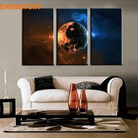 Unframed 3 Panel Space Planet Large HD Art Printed Painting Modern Home Wall Decor Painting On Canvas For Room Decoration