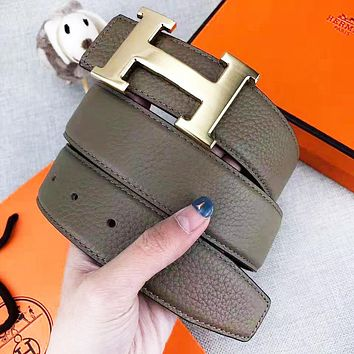 Hermes Fashion New H Letter Buckle Leather Women Men Leisure Belt With Box