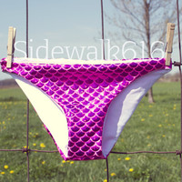 Pink Mermaid Bikini Bottoms Shiny Fish Scale