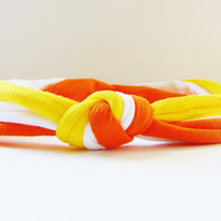 Candy Corn Fall Thanksgiving Knotted Headband  - Baby, Infant, Toddler, Teen, Adult Knotted Headwrap - Turban Jersey Headband