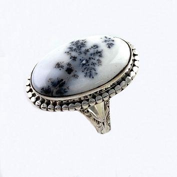 Dendritic Opal Sterling Silver Oval Ring