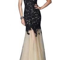 Sunvary Fancy Mermaid Lace Prom Dress Pageant Dress for Evening Long - US Size 4- Black