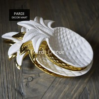 New decoration tray gold/white pineapple plate desert plate fruit plate storage plate 1pc/lot