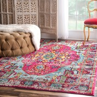 nuLOOM Distressed Abstract Vintage Oriental Multi Rug (7'10 x 11') | Overstock.com Shopping - The Best Deals on 7x9 - 10x14 Rugs
