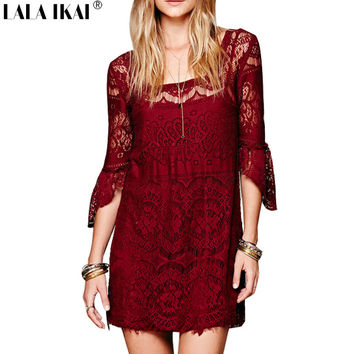 Vintage Lace Crochet Hollow Out Dress With Flare Sleeve Brand Backless Boho Dress 2Pcs Sexy Halter Mini Dress QWC0026-5