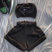 NIKE women new fashion printing casual sports two-piece suit Black