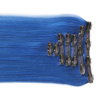 """Alluring Blue:  21"""" Clip In 100% Human Hair Extensions"""