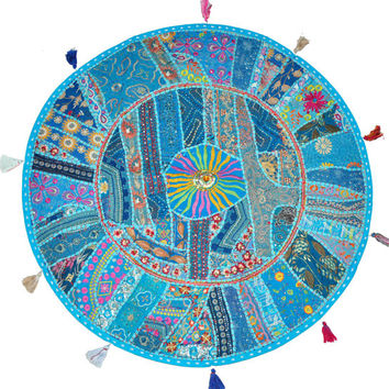 """22"""" Blue Round Floor Pillow Floor Cushion for kids new baby round Bohemian Patchwork floor cushion pouf Vintage Indian Foot Stool Bean Bag"""