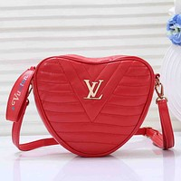 LV Louis Vuitton Women Fashion New Leather Heart-Shaped Shoulder Bag Red