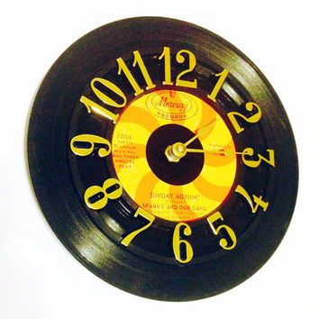 Clock, Record Clock, Vinyl Record Clock, Wall Clock, Record, Recycled Record, Upcycle, Battery & Wall Hanger included, Item #95