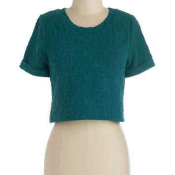 ModCloth Vintage Inspired Short Length Short Sleeves Cropped Coaxed to Cavort Top