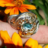 Size 9 Faceted Blue Topaz Ring Wrapped Sterling 14 Karat Gold Fill