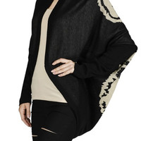 Long Sleeve Draped Open Front Knit Cardigan
