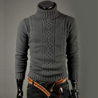 High Quality Casual Sweater Men Pullovers Fashion Autumn Winter Knitting Long Sleeve Turtle Neck