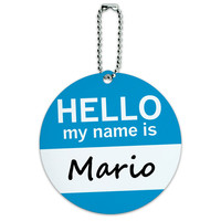 Mario Hello My Name Is Round ID Card Luggage Tag
