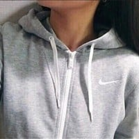 Stylish Casual Long Sleeve Zippers Tops Hats With Pocket Hoodies [7832933895]