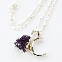 AMETHYST+CRESCENT MOON ➳ SILVER NECKLACE