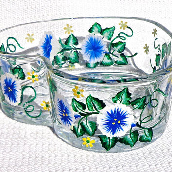 Painted Heart Bowl With Morning Glories, Mothers Day Gift, Candy Dish, Home Decor, Spring Flowers, Housewarming Gift