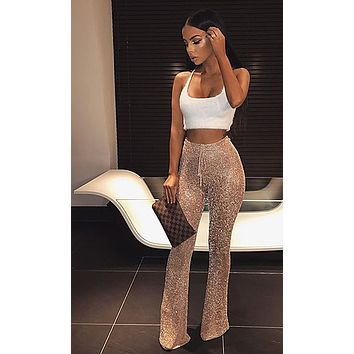 Such a Minx Metallic Mesh Stretch Elastic Waist Sheer Flare Trouser Pants - 6 Colors Available