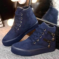 Fashion women winter boots shoes 2017 casual flat with non slip keep warm boots shoes
