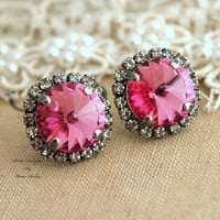 Pink white silver Bridal stud earrings Crystal earrings - silver plated oxidized real Swarovski crystals.