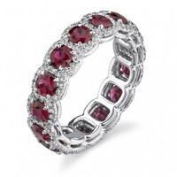 Womens .925  Sterling silver 1ct Red Ruby Engagement Wedding Ring Size 6,7,8,9,10
