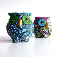 Owl Salt and Pepper Shaker set Hand painted colorful owls woodland creatures owl lovers Owl collectors