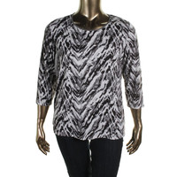 JM Collection Womens Plus Knit Printed Pullover Top