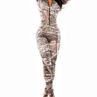 Camo Snowy Forest Army Style Long Sleeve Coveralls Bodycon Jumpsuit