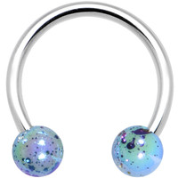16 Gauge Blue Speckled Cosmos Horseshoe Circular Barbell 3/8"
