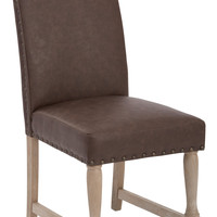 Office Star Kingman Dining Chair with Antique Bronze Nailheads and Brushed legs in Espresso Bonded Leather [KMN-BD2]