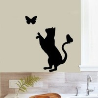 Housewares Vinyl Decal Animal Pet Cat and Butterfly Home Wall Art Decor Removable Stylish Sticker Mural Unique Design for Any Room