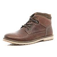 River Island MensTan lace up worker boots