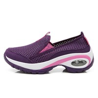 Shock Absorption Mesh Platform Slip On Athletic Casual Shoes For Women