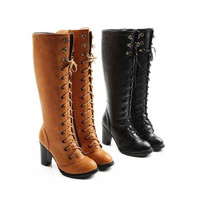 New arriver 2015 fashion knee boots high heel shoes winter fashion sexy warm long women boots  on sale size 34-39 = 1932917124