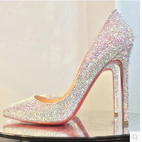 Spring 2015 new winter diamond fine with pointed pumps wedding shoes sexy high with shallow mouth shoes women party shoes = 1753573316