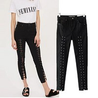 Women's summer new cross-strap high waist Slim jeans