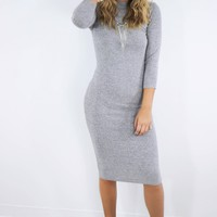 Cosmic Desire Heather Gray Quarter Length Sleeve Ribbed Sweater Dress