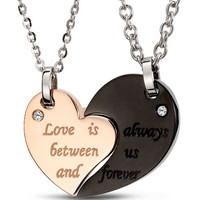 Memorable Heart Shape Necklaces for Couple-love is always between us and forever