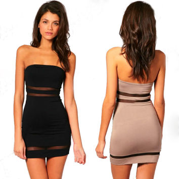 Sheer Panel Party Dress