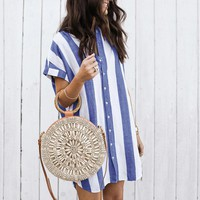 Feitong 2019 Women Fashion Short Sleeve Stripe Dresses Female Button Casual Evening Party Dress Ladies Loose Summer Dresses New