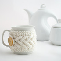 Cup Cozy in White, Knitted Mug Cozy, Coffee Cozy, Tea Cup Cozy, Handmade Wooden Button, Coffee Cozy Sleeve, Warmer, Winter, Gift