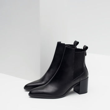 HIGH HEEL LEATHER ANKLE BOOTS WITH STRETCH DETAIL